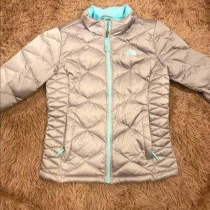 The northface silver & turquoise puffer coat